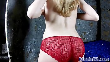 Amateur russian shemale stuffing her ass